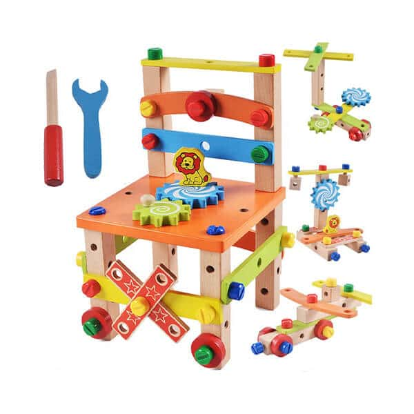 assembling disassembling wooden multifunctional kids chair with nut and screw toys for kids