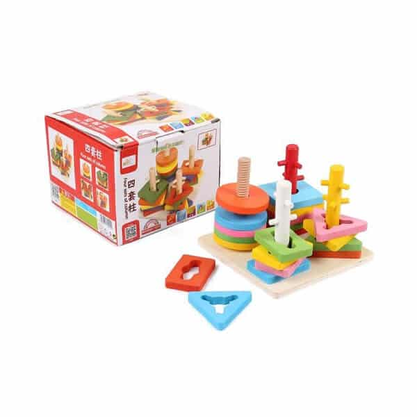 Four Sets of Column Learning Education Puzzle Toy Game for Kids Multicolor