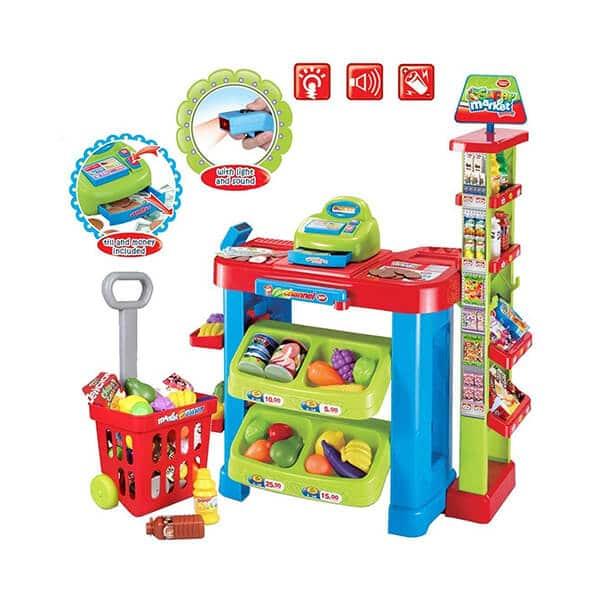 kids supermarket toy set with shopping cart